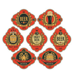 Beer labels in figured frames on a red background vector