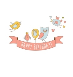 Birds On Happy Birthday Party Banner vector