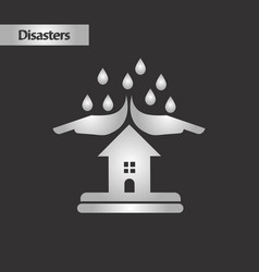 Black and white style nature hand house rain vector