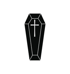 Black classical coffin simple icon vector