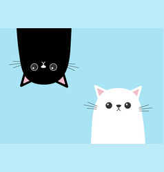 Black funny cat head silhouette hanging upside vector