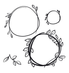 Botanical circle decorative hand drawn frames set vector