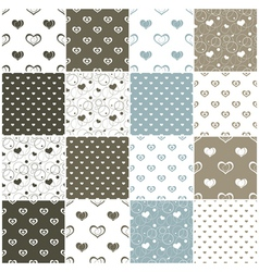 Brown and blue seamless patterns with hearts vector