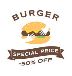 burger sale social media banner template fast vector image