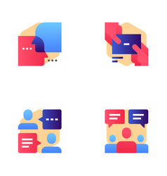 buzz marketing line icons set vector image