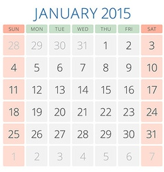 Calendar 2015 January design template vector