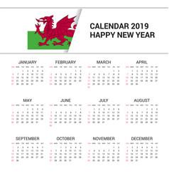Calendar 2019 wales flag background english vector