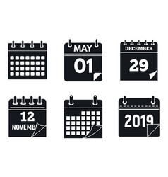 calendar page icons set simple style vector image