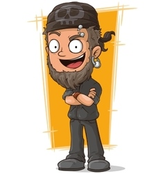 Cartoon man in leather suit with piercing vector image