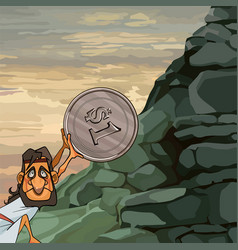 Cartoon man sisyphus rolls a coin up the mountain vector