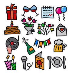 celebrations icons vector image