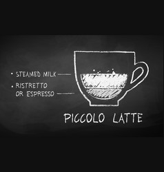 chalk drawn sketch piccolo latte vector image