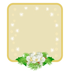 Christmas decoration frame with white flowers and vector image