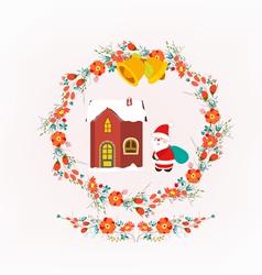 Christmas decorative wreath and santa claus vector image