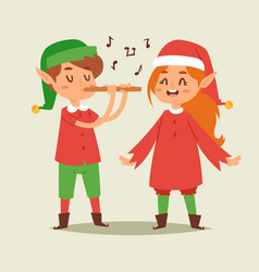 christmas elfs kids children santa claus vector image