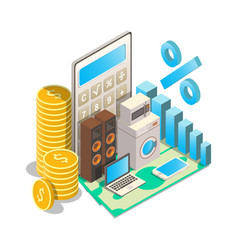 Consumer loan rates concept isometric vector