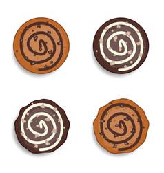 Cookies with chocolate an hazelnutd set vector