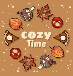 Cozy time decorative wreath cute cozy banner vector