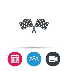 Crosswise racing flags icon Finishing symbol vector