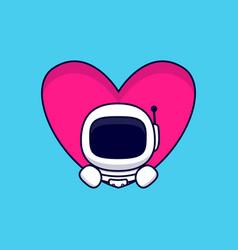 Cute astronaut popup from heart cartoon icon vector