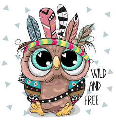 Cute cartoon tribal owl with feathers vector
