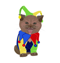 cute funny kitten in april fools day hat joker vector image