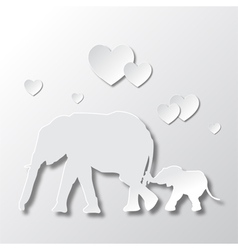 Elephants Mom and Son Love and Caring vector image