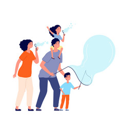 Family and bubbles soap bubble blowing happy vector
