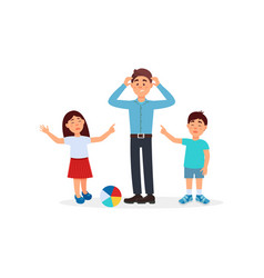 Father being tired with his kids parenting stress vector