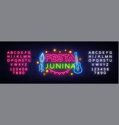 festa junina greeting card design template neon vector image
