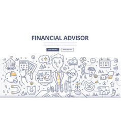 Financial advisor doodle concept vector