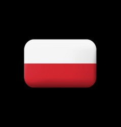 Flag of poland matted icon and button vector