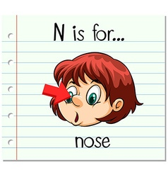 Flashcard letter N is for nose vector