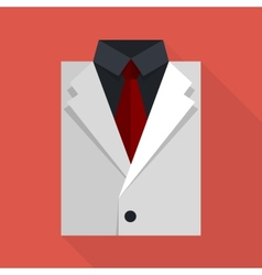 Flat business jacket and tie White color vector image