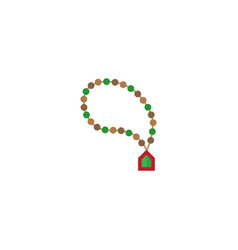 Flat rosary islam element of vector