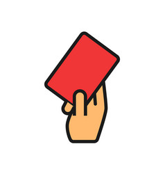 Football referee card in hand simple outline vector
