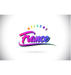 France welcome to word text with creative purple vector
