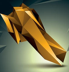 Geometric abstract 3D complicated object golden vector