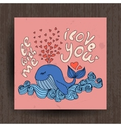 Greetings card with cute animals - whale and vector