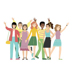 group smiling girls and boys or students vector image