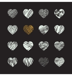 Hand drawn heart icons vector image