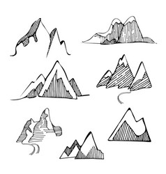 Hand drawn set sketch mountains vector