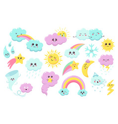 hand drawn weather phenomena cute sun clouds and vector image