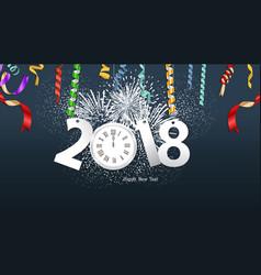 happy new year 2018 confetti clock celebration vector image