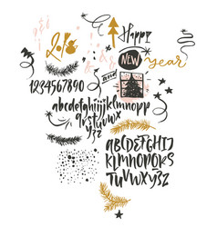 Happy new year funny font and graphic vector