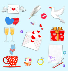 happy valentines day cartoon icons set isolated vector image