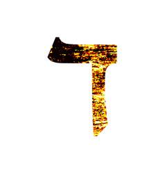 Hebrew letter dalet shabby gold font the hebrew vector