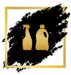 Household chemical bottles sign golden vector