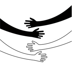 Hugging hands arm embrace belief togetherness vector