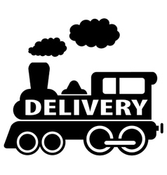 Isolated black delivery train vector